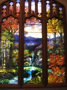 """Autumn Landscape"" ~ Stained Glass window designed by: Agnes Northrop for Louis Comfort Tiffany Studio's. Her design work for Tiffany, displayed peaceful landscaped vistas. Some of her works, were designed during the Gilded Age. Tiffany Glass, Tiffany Stained Glass, Stained Glass Art, Stained Glass Windows, Mosaic Glass, Tiffany Art, Tiffany Room, Fused Glass, Louis Comfort Tiffany"