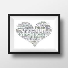 Gift for Best Friend Personalised Loves Heart Print in your choice of words and colours.    www.pepperdoodles.co.uk