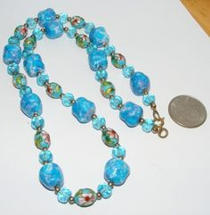 Vintage art glass bead & cloisonne beads NECKLACE costume jewelry beaded BLUES | eBay