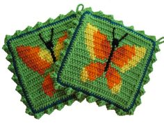 Butterfly Pot Holders Yellow and orange crochet by hooknsaw, $19.00