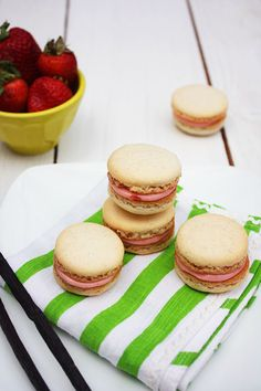 Vanilla Bean Macarons with Strawberry Filling from She Makes and Bakes