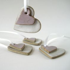 Ceramic Heart Decoration or Love Tokens in White and Pink. Handmade by Jude Allman.
