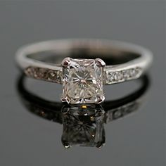 Vintage Diamond Engagement Ring - 14K White Gold and Diamond. $4 975.00via Etsy..