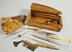 Pre-Columbian Weaver's Basket, with bone tools, spindle whorls, yarns, etc.
