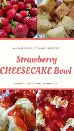 Layered Strawberry Cheesecake Bowl - Home at Cedar Springs Farm Dessert Cake Recipes, Easy Desserts, Trifle Dish, Whipped Cream Cheese, Vegetarian Cake, Strawberry Cheesecake, No Bake Cake, Baking, Eat