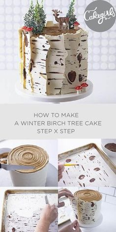 Our Birch Tree Cake tutorial will show you how to make this show stopping Winter inspired cake for Christmas. Shop supplies and see the photo steps! decorating How To Make A Winter Birch Tree Cake Pretty Cakes, Cute Cakes, Beautiful Cakes, Amazing Cakes, Holiday Baking, Christmas Baking, Christmas Treats, Christmas Cakes, Christmas Birthday Cake