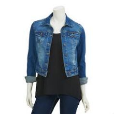 For an unexpected, fashionable look, add this juniors' Wallflower denim jacket to your collection. Fashion Mode, Kohls, Denim Jeans, Plush, Hoodies, My Style, Jackets, Online Clothes, Collection