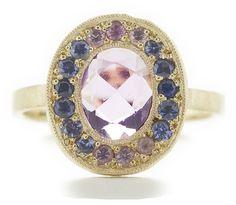 dawes design: custom lux ring with sapphire spectrum halo