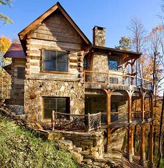 I Love Unique Home Architecture. Simply stunning architecture engineering full of charisma nature love. The works of architecture shows the harmony within. Mountain House Plans, Mountain Homes, Mountain View, Timber Frame Homes, Timber House, Timber Frames, Lookout Tower, Cabin In The Woods, Log Cabin Homes