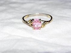 Sterling Silver pink sapphire ring size:9.5 ca5   $0.01 startingbid!