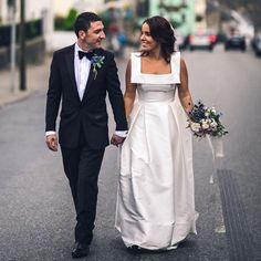 Newest Unique Square Neck Sleeveless A-line Simple Satin Cheap Wedding Dress, AB1107 #weddingdress