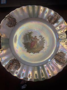 Vintage Schaller small plates with ladies in the center, beautiful rare iridescent design. Small Plates, Decorative Plates, Antique Dishes, Fine China, Vintage Designs, Iridescent, Unique Jewelry, Handmade Gifts, Etsy Shop