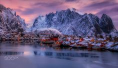 """Reine at sunrise - Τhe Norwegian fishing village with an estimated population of just about 300. The village is nestled in the Lofoten Archipelago, a picturesque string of islands within the Arctic Circle.Please  <a href=""""https://www.facebook.com/YiannisPavlis4"""">Visit me on Facebook!</a>."""