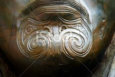 Tā Moko Close Up on Carving Royalty Free Stock Photo