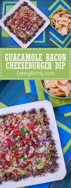 This guacamole bacon burger dip has all the flavors of your favorite burger, turned into a seven layer dip. It's the perfect football snack recipe! Easy to make the day before as well. From EatingRichly.com