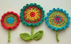 crocheted  motifs | Crochet Flower Motifs Crochet Garden Series by AnnieDesign