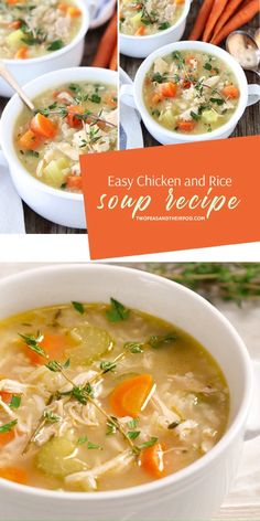 Easy Chicken and Rice Soup is a favorite dinner idea for cold nights! This winter comfort food is full of vegetables, chicken, and rice, with the fresh flavor of thyme. Everyone will love this heary winter recipe! Easy Chicken And Rice Soup Recipe, Chicken Rice Soup, Vegetable Soup With Chicken, Chicken Soup Recipes, Chicken And Vegetables, Recipe For Turkey Soup, Turkey Soup With Rice, Recipe For Vegetable Soup, Chicken Soup For Babies