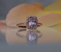 Lavender Peach Sapphire Ring