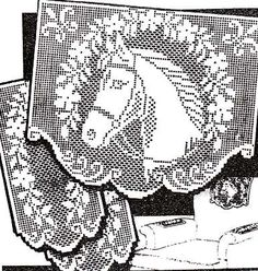 Filet Crochet Pattern HORSE with GARLAND Vintage Chair Back Set ...