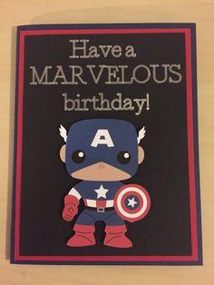 Disney Marvel Captain America homemade birthday card - Visit to grab an amazing super hero shirt now on sale! Disney Birthday Card, Homemade Birthday Cards, Birthday Cards For Boys, Bday Cards, Birthday Gifts For Best Friend, Kids Birthday Cards, Diy Birthday, Marvel Cards, Marvel Gifts