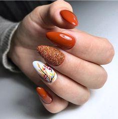 Cute Almond Nails, Almond Nail Art, Fall Nail Art, Nails Inspiration, Manicure, Nail Designs, Hair Beauty, Orange, Fashion