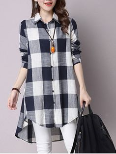 GET $50 NOW | Join RoseGal: Get YOUR $50 NOW!http://www.rosegal.com/blouses/asymmetrical-button-down-pocket-design-plaid-679341.html?seid=6613980rg679341