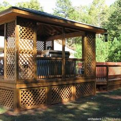 For The Ultimate In Style And Summertime Comfort Include A Deck Roof Corner Trellis Skirt Too Archadeck Outdoor Living Backyard Shade Ideas