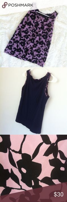 Ann Taylor purple/black flower design summer top This would make the perfect top to wear during the fall and the summer.top is in excellent condition .has a nice silky look to it!size small .solid navy blue color on the back! Ann Taylor Tops Blouses