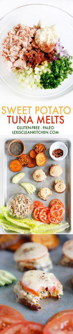 Sweet Potato Tuna Melts {Grain-free, gluten-free, egg-free, omit the cheese to make this paleo-friendly!} | Lexi's Clean Kitchen