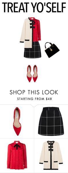 """""""Untitled #321"""" by ctpyp ❤ liked on Polyvore featuring Nly Shoes, WithChic, Gucci, Boutique Moschino, Miu Miu, treatyoself and treatyourself"""