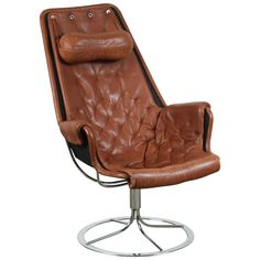Leather Jetson Chair by Bruno Mathsson for DUX | From a unique collection of antique and modern swivel chairs at https://www.1stdibs.com/furniture/seating/swivel-chairs/