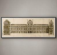 Circa 1756 Elevation of the Louvre | Framed Artwork | Restoration Hardware