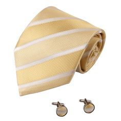 "A1031 Light Yellow White Stripes Rack Presents Mens Design For Evening Silk Tie Cufflinks Set 2PT By Y&G. Brand name: Y&G. Material: 100% Woven Silk. Size: Tie--59.05""""*3.74"""". Package: With Free Gift Box. Set including: Tie, Cufflinks."