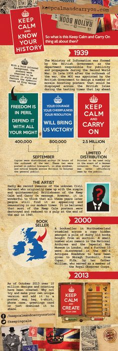 History - Keep Calm and Carry On Poster  It is believed that most of the Keep Calm posters were destroyed and reduced to a pulp at the end of the war in 1945. However, nearly 60 years later, a bookseller from Barter Books stumbled across a copy hidden amongst a pile of dusty old books bought from an auction. A small number also remain in the National Archives and the Imperial War Museum in London, and a further 15 were discovered in the BBC's Antiques Roadshow to have been given to Moragh…