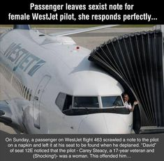 Man Leaves A Note For A Female Pilot, Telling Her That Women Have No Place In The Cockpit. Her Response Was Awesome! - 5 Pics - Humor of all varieties - Women in Uniform Aviation Quotes, Aviation Humor, Aviation Insurance, Flight Attendant Quotes, Airplane Humor, Airplane Pilot, Pilot Humor, Pilot Quotes, Pilot Wife