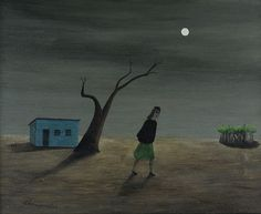 Girl Searching, Gertrude Abercrombie (1909-1977), Oil on Masonite, 8 x 10 in.