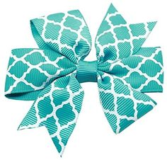 Mirage Pet Products Hair Bow Quatrefoil French Barrette Turquoise * Want to know more, click on the image.