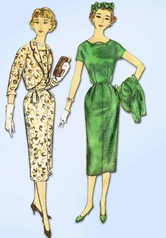 1950s Vintage Simplicity Sewing Pattern 2460 Uncut Misses Wiggle Dress Size 16