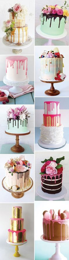Hottest Cake Trend: Delish & Fun Colour Drip Cakes Oh Yum! Colour Drip Wedding Cakes - The Latest Cake Trend Fancy Cakes, Cute Cakes, Pretty Cakes, Yummy Cakes, Beautiful Cakes, Amazing Cakes, Girly Cakes, Decoration Patisserie, Bolo Cake