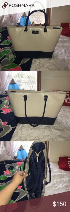 Kate Spade Wellesley Medium Harmony Kate Spade Wellesley Medium Harmony in navy & ivory. Large tote/purse. Excellent used condition. kate spade Bags Shoulder Bags