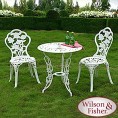 Wilson & Fisher® White Rose Case Iron Bistro Set  $99 Set  Durable, epoxy powder-coated cast iron and aluminum construction  Elegant rose pattern  Assembly required  Includes table & two chairs