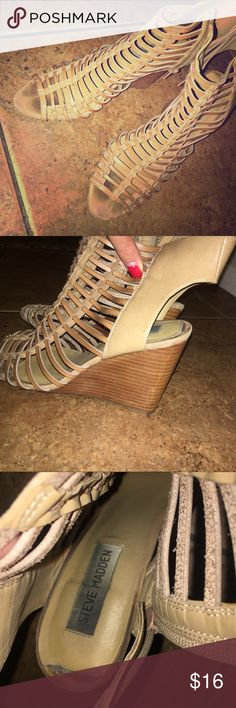STEVE MADDEN TAN WEDGES Used but still will look great! Steve Madden Shoes Wedges