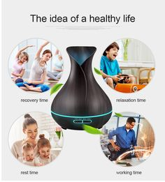 Ultra-quiet 100ml Wood Grain Creative Aroma Diffuser Small Waist Colorful Fragrance Lamp Aromatherapy Machine At Any Cost Household Appliances Small Air Conditioning Appliances