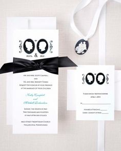 Vintage-Style Wedding Invitations: Silhouettes. Romantic cameos with subtle filigree accents top this design that is finished with a satin ribbon.
