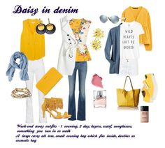 """""""Daisy and denim"""" by iarhanghelschi ❤ liked on Polyvore featuring Zara, 7 For All Mankind, Oasis, White House Black Market, MICHAEL Michael Kors, Majique, Hissia, Kate Spade, Ray-Ban and MANGO"""