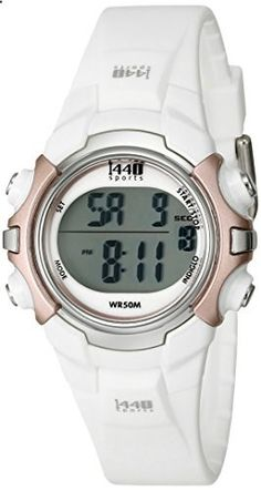Timex Women's T5G881 1440 Digital Watch with White Resin Strap. Go to the website to read more description.