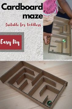 Create a cardboard maze at home. Suitable for the kids. Increase difficulty of the maze as kid grows. Toddler Learning Activities, Craft Activities For Kids, Preschool Crafts, Diy Crafts For Kids, Fun Crafts, Activities For 3 Year Olds, Crafts For 3 Year Olds, Family Activities, Craft Ideas