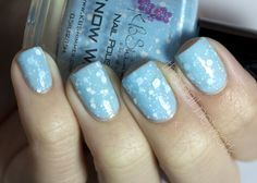 Snow Way is so pretty! This delicate shade of baby blue is filled with white glitter and teeny tiny little iridescent glitter that looks like sparkly fresh-fallen snow if you move your hands the right way. For holiday 2012