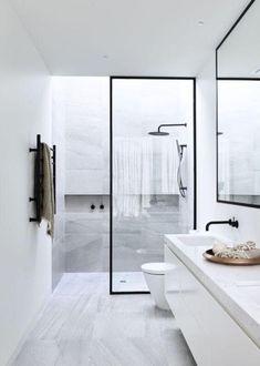 Ideas for bathroom shower small apartment therapy New Bathroom Ideas, Bathroom Layout, Modern Bathroom Design, Bathroom Inspiration, Bath Design, Bathroom Designs, Modern Design, Bath Ideas, White Bathroom