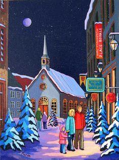 Soirée magique a la Place Royale - Louise Marion, artiste peintre, paysage urbain, Quebec, couleurs